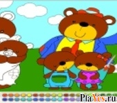 онлайн игра Bear Family Coloring