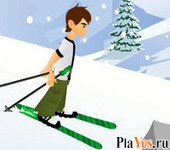 онлайн игра Ben 10 Downhill Skiing